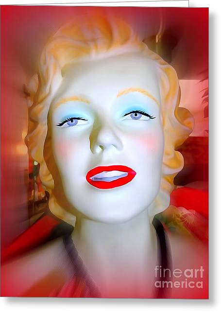 Abstract Digital Photographs Greeting Cards - Ruby Lipped Marilyn Greeting Card by Ed Weidman