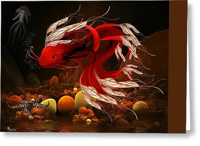 Fantasy World Greeting Cards - Ruby Red Fish Greeting Card by Ali Oppy