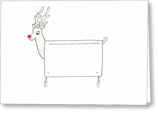 Rudolf The Red Nosed Radiator Greeting Card by Lincoln Seligman