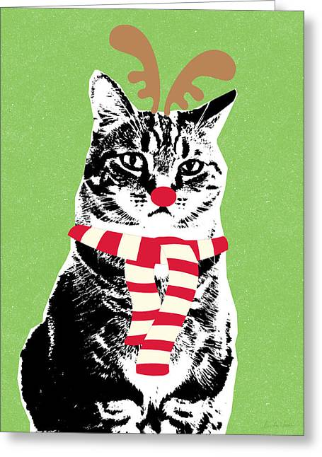 Black Scarf Greeting Cards - Rudolph The Red Nosed Cat- Art by Linda Woods Greeting Card by Linda Woods
