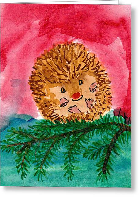 Rudolph The Red Nosed Hedgehog Greeting Card by Kerry Hartjen
