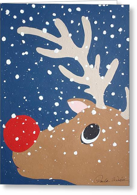 Rudolph Mixed Media Greeting Cards - Rudolph The Red Nosed Reindeer Greeting Card by Paula Weber