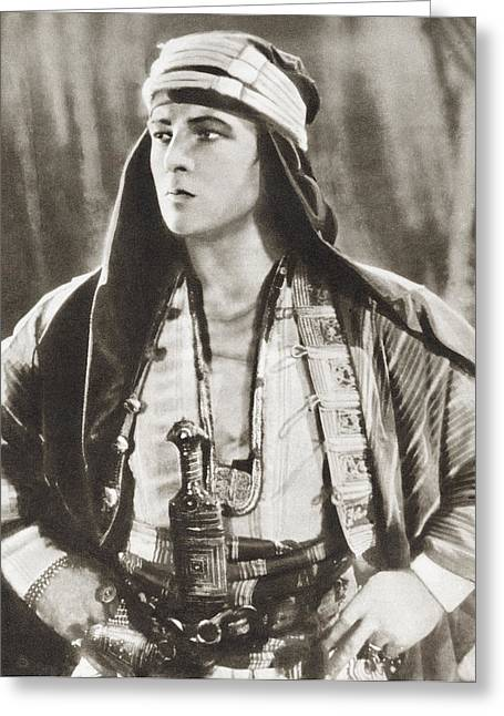 Rudolph Greeting Cards - Rudolph Valentino, 1895 Greeting Card by Vintage Design Pics
