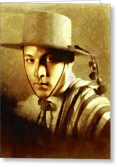 Rudolph Greeting Cards - Rudolph Valentino as The Gaucho Greeting Card by Charmaine Zoe