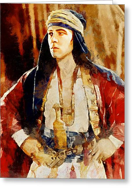 Rudolph Greeting Cards - Rudolph Valentino as The Sheikh Greeting Card by Charmaine Zoe