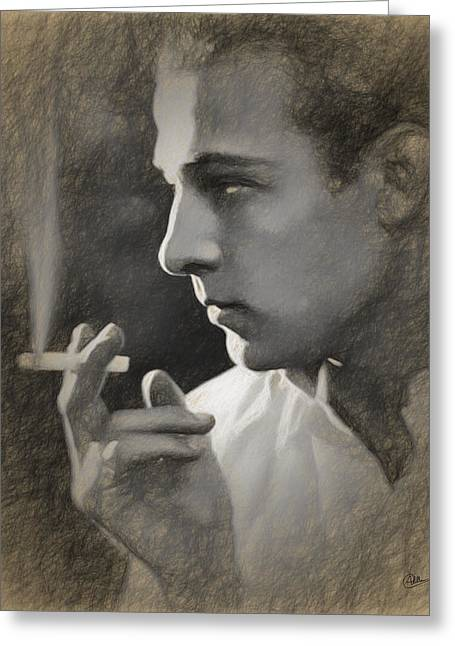 Rudolph Valentino Draw Greeting Card by Joaquin Abella