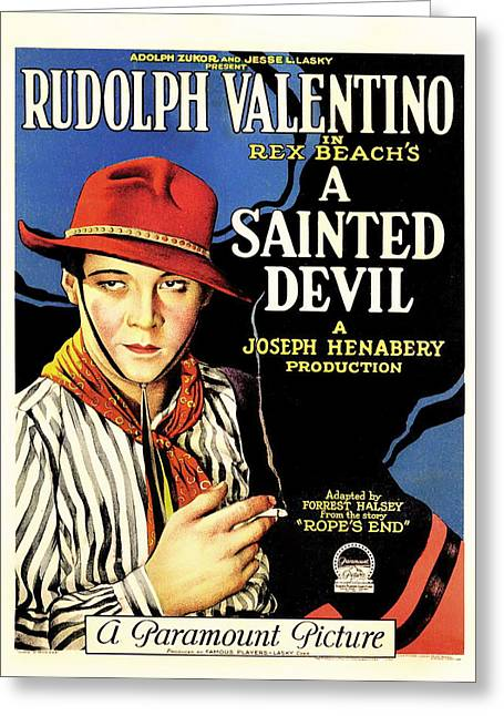 Rudolph Greeting Cards - Rudolph Valentino in A Sainted Devil 1923 Greeting Card by Mountain Dreams