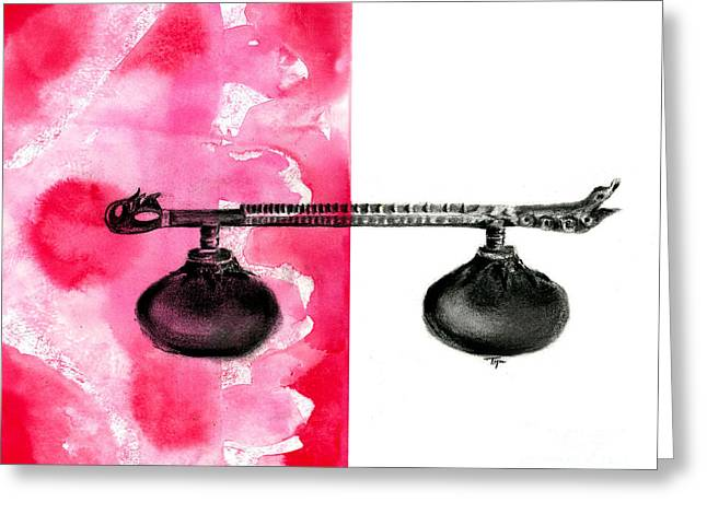 Rudra Greeting Cards - Rudra Veena - Musical instrument - Charcoal and ink Greeting Card by SnazzyHues