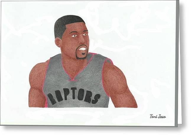 Slam Drawings Greeting Cards - Rudy Gaye Greeting Card by Toni Jaso