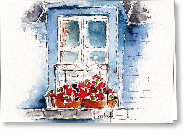 Pause Greeting Cards - Rue Bernardine Window Greeting Card by Pat Katz