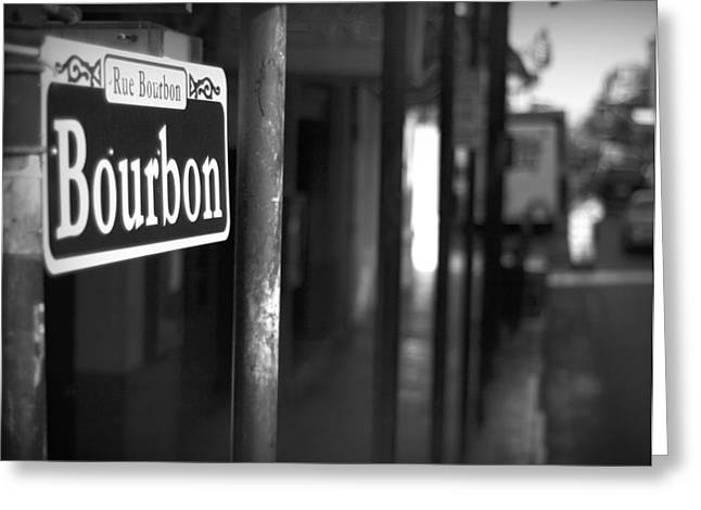 French Quarter Photographs Greeting Cards - Rue Bourbon Greeting Card by John Gusky