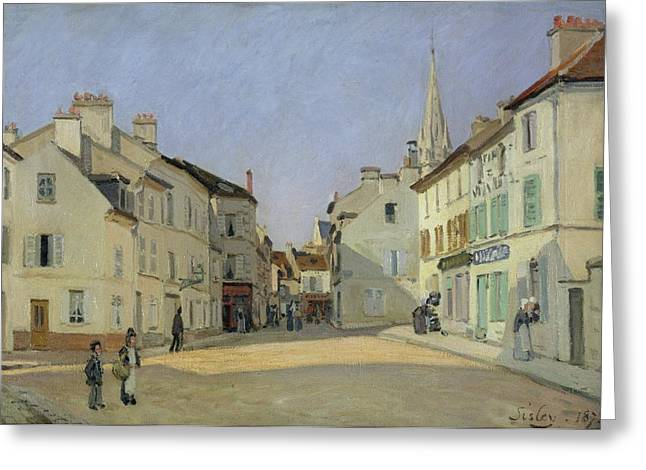 Rue Greeting Cards - Rue de la Chaussee at Argenteuil Greeting Card by Alfred Sisley
