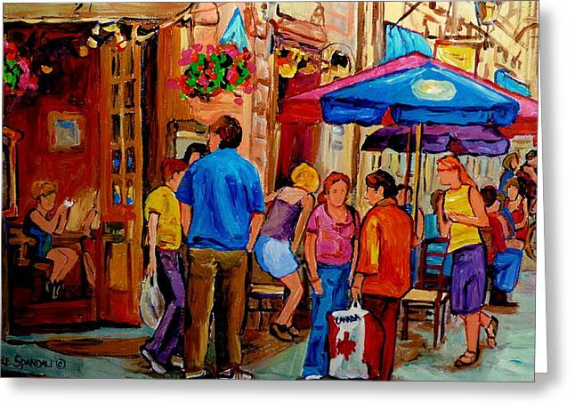 Rue Prince Arthur Greeting Cards - Rue De La Commune Montreal Greeting Card by Carole Spandau
