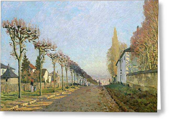 Machine Paintings Greeting Cards - Rue de la Machine Louveciennes Greeting Card by Alfred Sisley