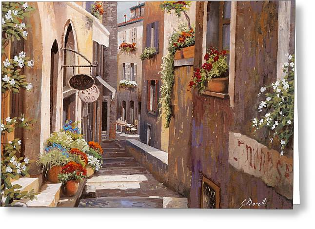 Rue Du Bresc In St Paul De Vence Greeting Card by Guido Borelli