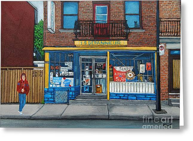 Streets Of Montreal Greeting Cards - Rue Du Centre Depanneur Greeting Card by Reb Frost