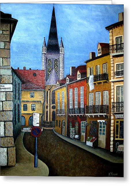 Dijon Greeting Cards - Rue Lamonnoye in Dijon France Greeting Card by Nancy Mueller