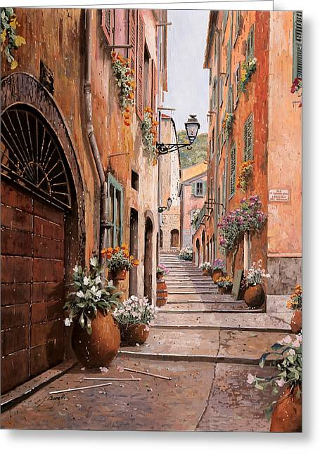 rue Malonat in  Nice  Greeting Card by Guido Borelli