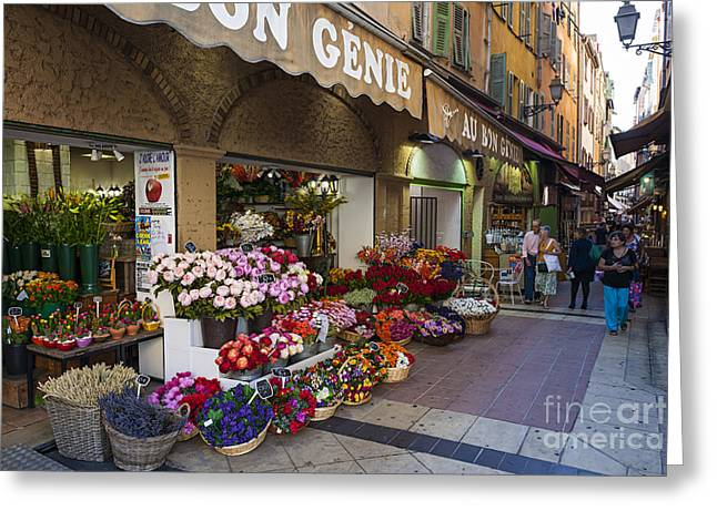 European Flower Shop Greeting Cards - Rue Pairoliere in Nice Greeting Card by Elena Elisseeva