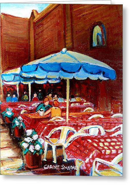 Prince Arthur Restaurants Greeting Cards - Rue Prince Arthur Greeting Card by Carole Spandau