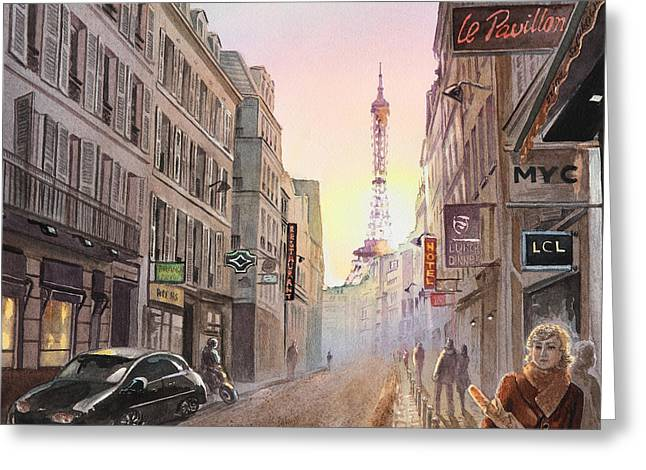 Rue Saint Dominique Greeting Cards - Rue Saint Dominique Paris France View On Eiffel Tower Sunset Greeting Card by Irina Sztukowski
