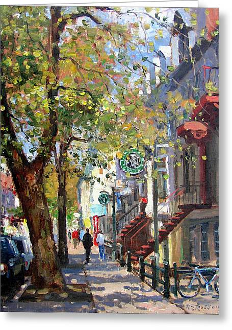 Montreal Paintings Greeting Cards - Rue St Denis Montreal Greeting Card by Roelof Rossouw