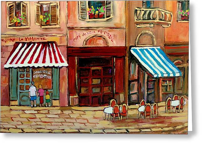 Rue Prince Arthur Greeting Cards - Rue St Paul Montreal Greeting Card by Carole Spandau