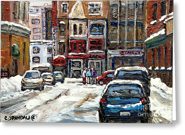 Stanley Street Greeting Cards - Rue Stanley Urban Downtown Canadian Paintings Best Authentic Original Montreal Art Carole Spandau Greeting Card by Carole Spandau