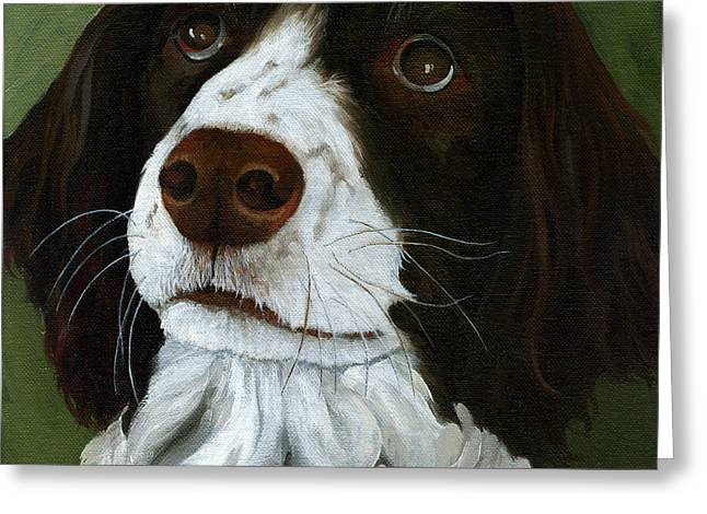 Spaniel Greeting Cards - Rueger - dog portrait oil painting Greeting Card by Linda Apple