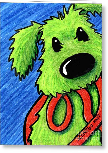Rufus At The Ready Greeting Card by Kim Niles