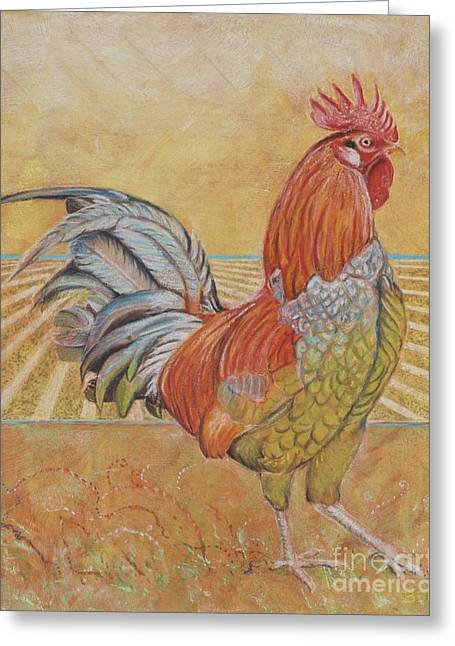 Farm Animals Pastels Greeting Cards - Rufus the Rooster Greeting Card by Christine Belt