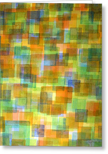 Transparency Geometric Greeting Cards - Rug out of Orange, Blue and Green Squares Greeting Card by Heidi Capitaine