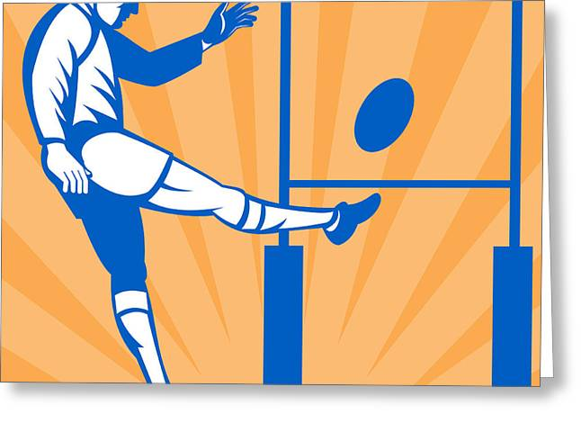 Rugby Goal Kick Greeting Card by Aloysius Patrimonio