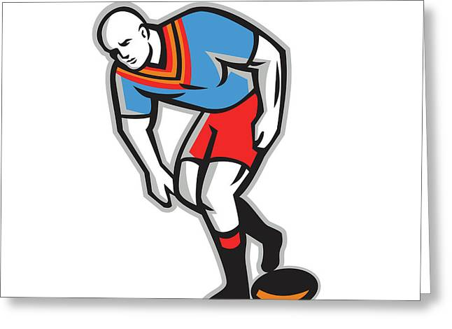 Rugby League Player Playing Ball Retro Greeting Card by Aloysius Patrimonio