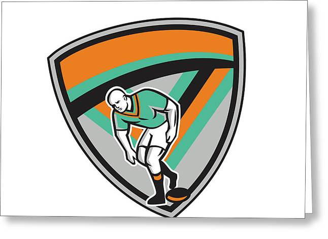 Rugby League Player Playing Ball Shield Retro Greeting Card by Aloysius Patrimonio