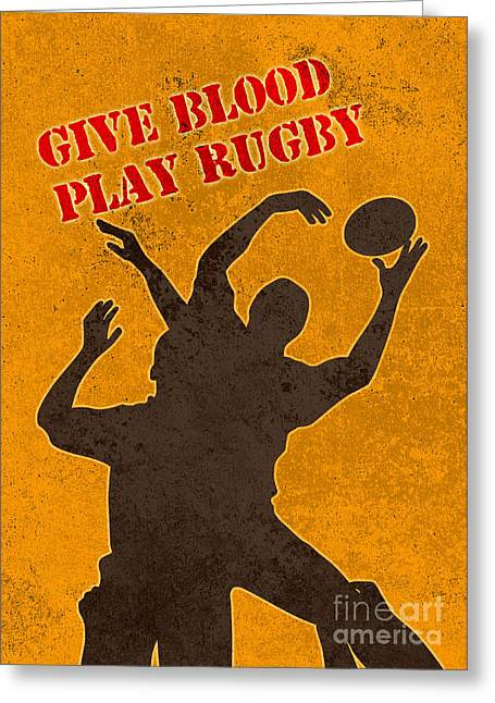Balls Posters Greeting Cards - Rugby Player Jumping Catching Ball In Lineout Greeting Card by Aloysius Patrimonio