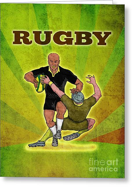 Balls Posters Greeting Cards - Rugby player running attacking with ball Greeting Card by Aloysius Patrimonio
