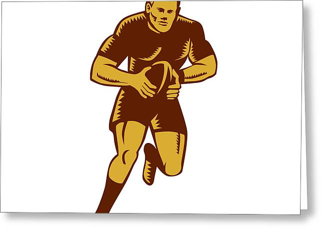 Linocut Greeting Cards - Rugby Player Running Ball Woodcut Greeting Card by Aloysius Patrimonio