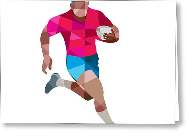 Geometric Artwork Greeting Cards - Rugby Player Running Side Low Polygon Greeting Card by Aloysius Patrimonio