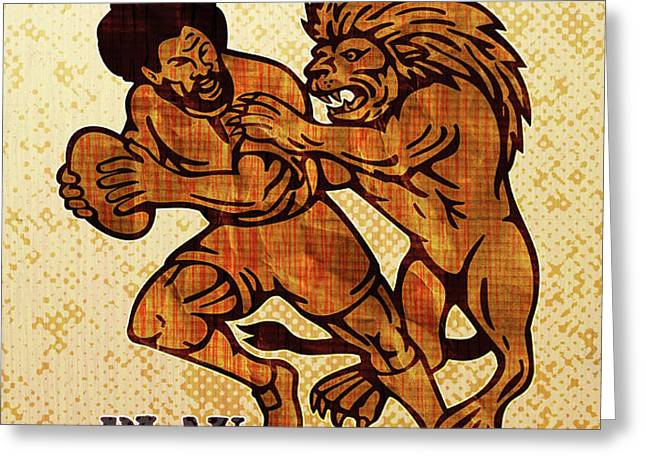 Rugby player running with ball attack by lion Greeting Card by Aloysius Patrimonio