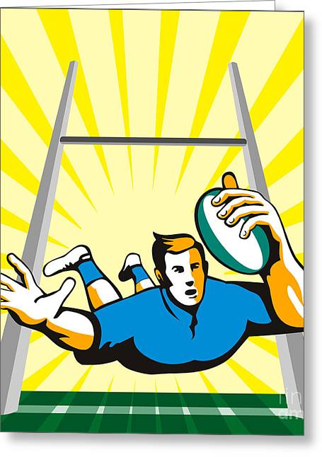 Rugby Greeting Cards - Rugby Player Scoring Try Retro Greeting Card by Aloysius Patrimonio