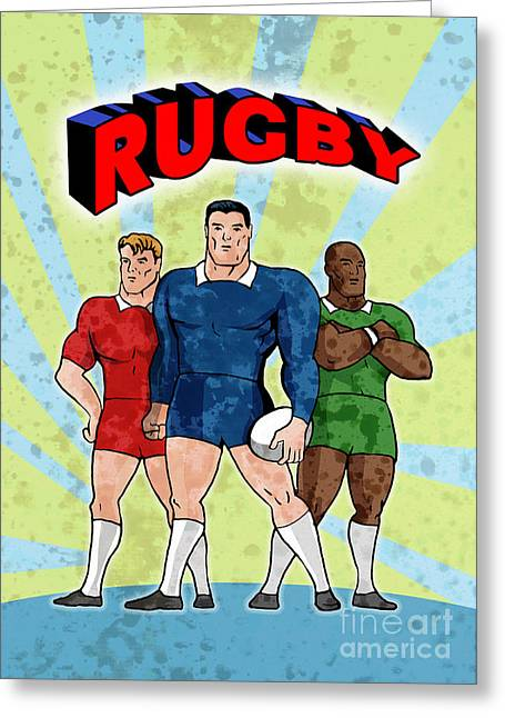 Balls Posters Greeting Cards - Rugby Player Standing With Ball Greeting Card by Aloysius Patrimonio