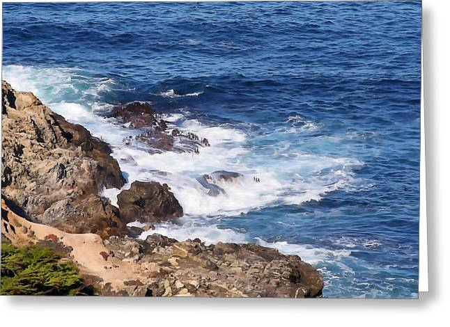 California Big Wave Surf Greeting Cards - Rugged Big Sur Greeting Card by Art Block Collections