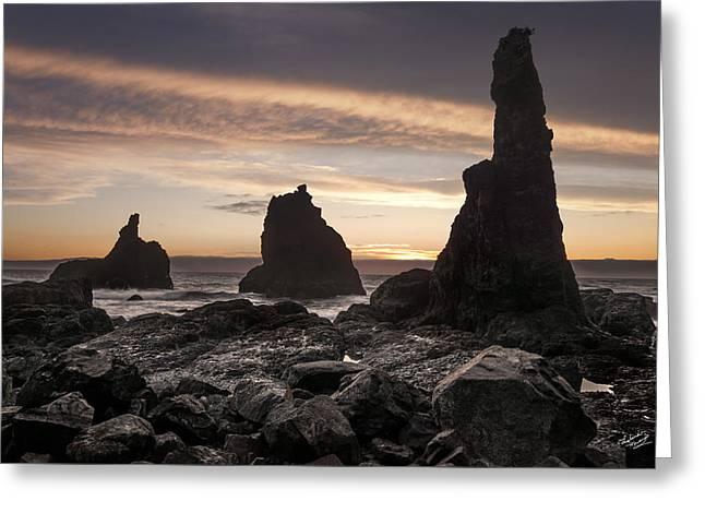Rugged Coastline Greeting Card by Leland D Howard