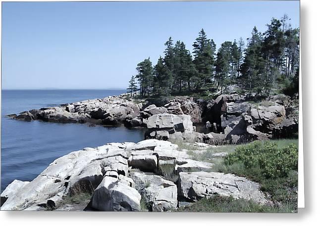 Coastal Forest Greeting Cards - Rugged Maine Coastline Greeting Card by Daniel Hagerman