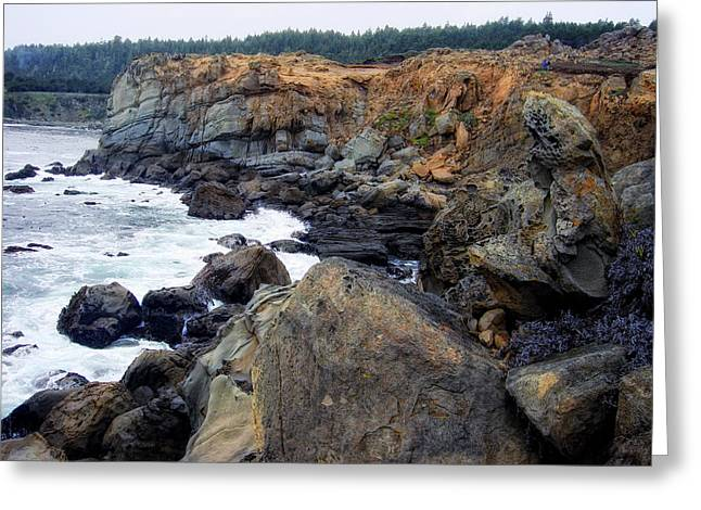 Rugged Pacific Greeting Card by Donna Blackhall