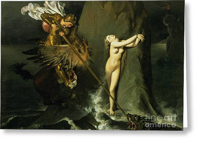 Knighted Greeting Cards - Ruggiero Rescuing Angelica Greeting Card by Ingres