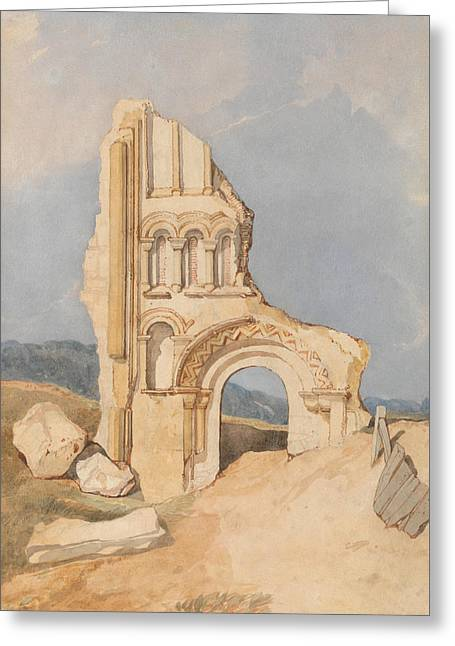 Ruin Of A Norman Church Greeting Card by John Sell Cotman