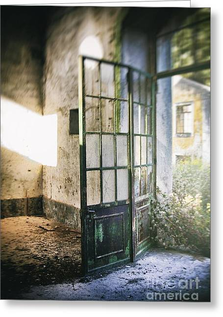 Depressed Greeting Cards - Ruined Door Greeting Card by Carlos Caetano