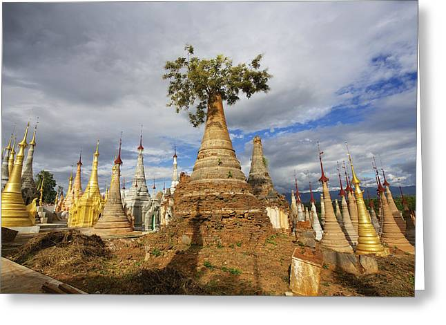 Remains Of Images Greeting Cards - Ruined Pagodas On Ingle Lake  Bhutan Greeting Card by Chris Caldicott